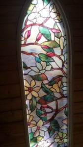 "The Chapel's ""stained glass"" windows."
