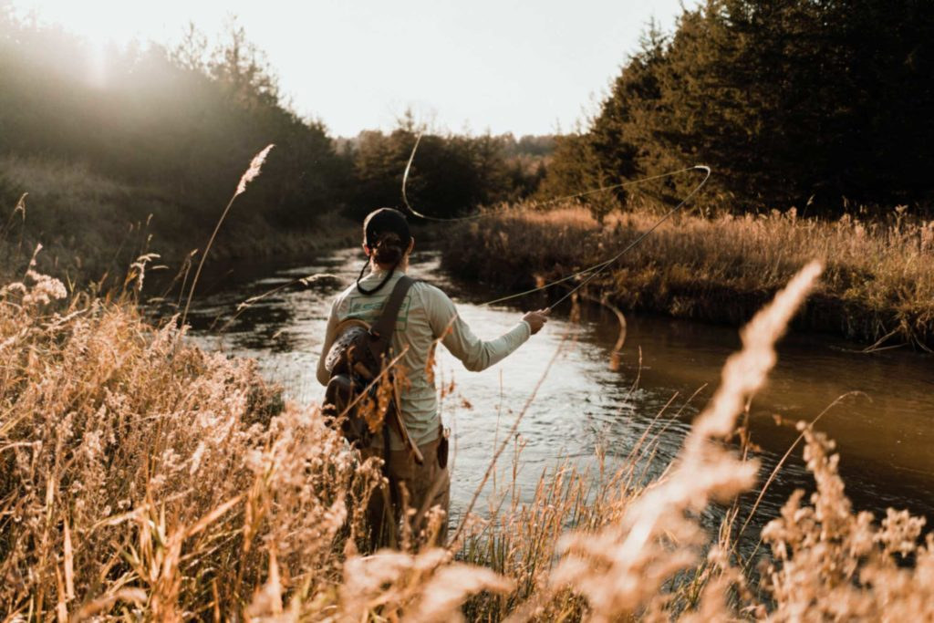 fly fishing in a small river in southern alberta