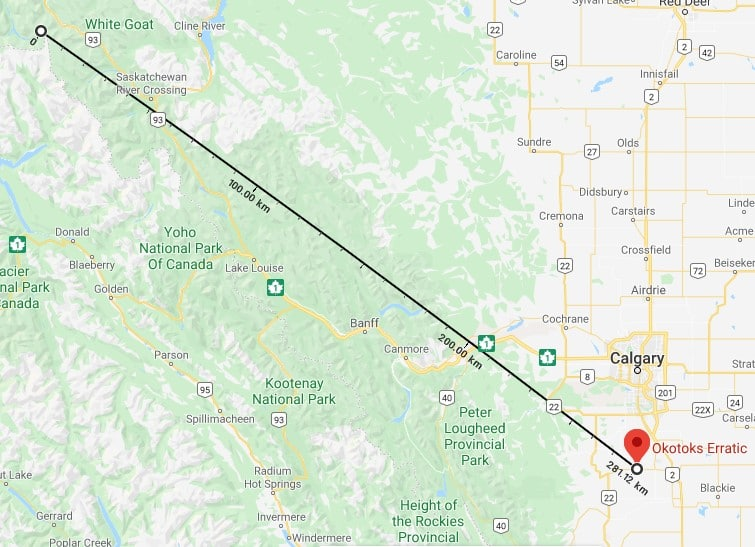 mapiong showing distance from origin to final resting place of Okotoks Erratic