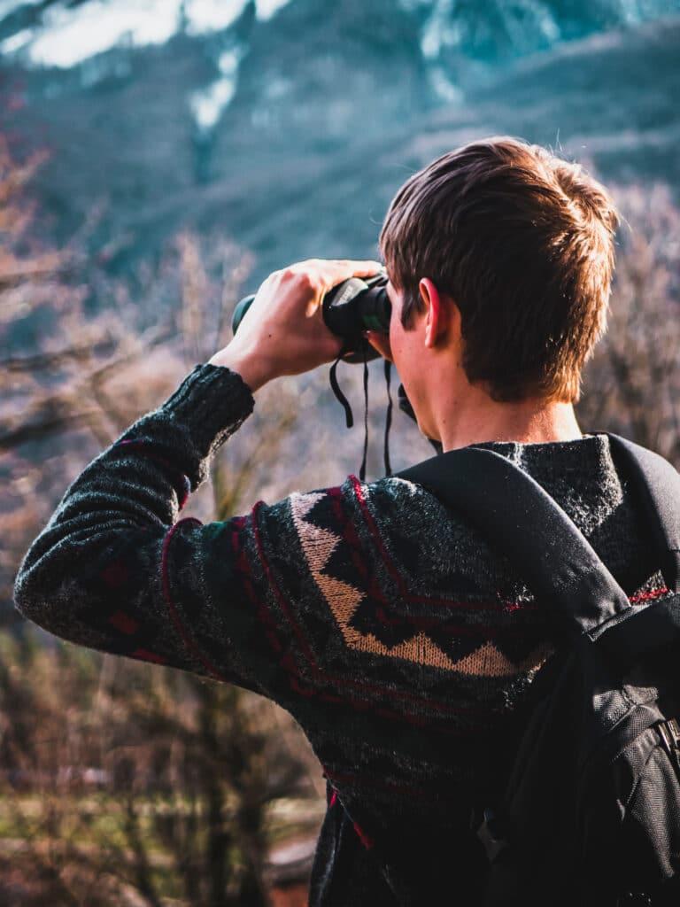 birdwatching with binoculars